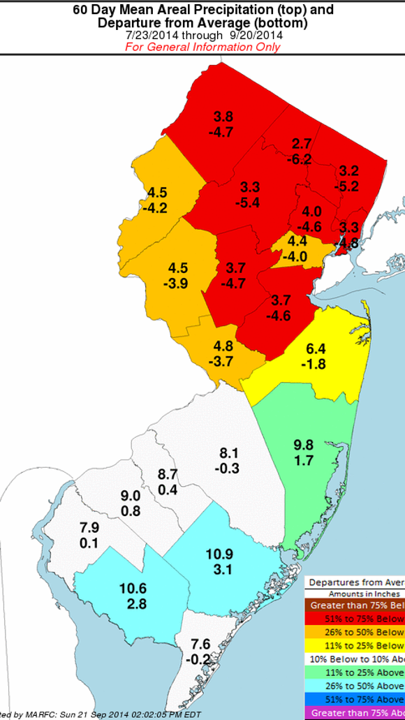 Precipitation in 60 days ending Sept. 20, 2014 (Source: Middle Atlantic River Forecast Center)
