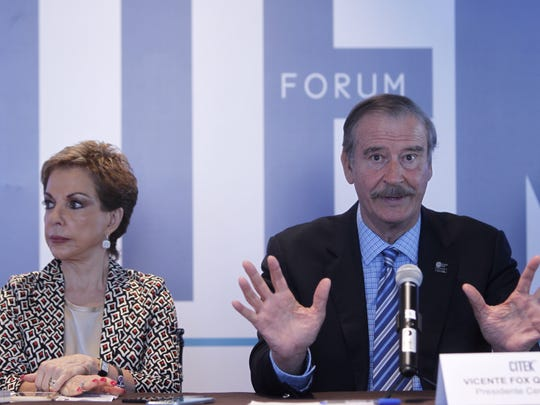 Former Mexican President Vicente Fox speaks during a press conference for CITEK business forum in Mexico City, Mexico, 21 August 2017. Fox commented on the uncertainty of the renegotiation of the North American Free Trade Agreement (NAFTA).