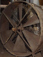A fan from 1890 used in the original Poughkeepsie Underwear Factory to cool workers in the attic, pictured in the lower level of 489 Main Street in the City of Poughkeepsie.