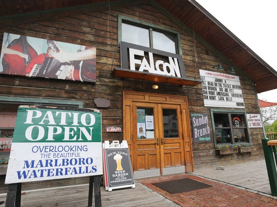 The exterior of the Falcon, featuring live music during