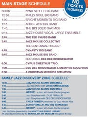 A schedule of performances at the Montclair Jazz Festival