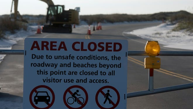 Hurricane Nate damaged the roadway at Fort Pickens in early October and it remained closed to the public on Monday, Nov. 20, 2017.