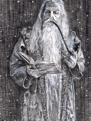 A pencil-and-ink sketch of a wizard, by Kurt Brugel.