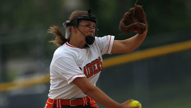Ryle sophomore Cassidy Souder pitches against Conner in a 33rd District semifinal at Boone County.