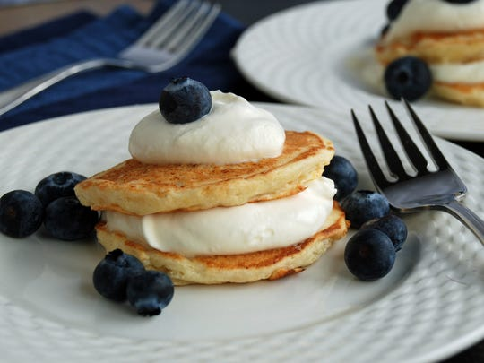 Lemon Ricotta Pancakes could be served as a dessert for Hanukkah or with Christmas brunch.
