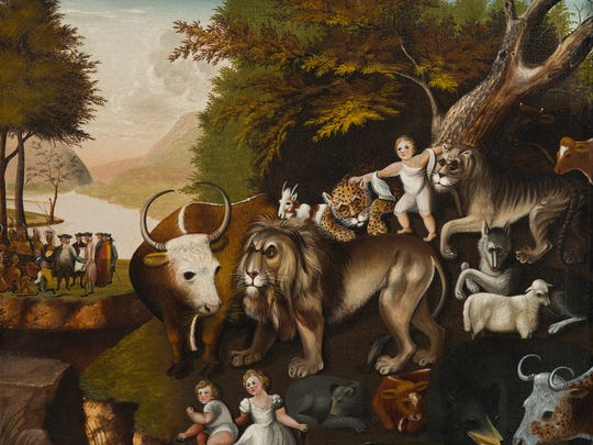 """""""The Peaceable Kingdom with the Leopard of Serenity"""" by Edward Hicks was painted between 1835 and 1840. The piece currently hangs at the Nevada Museum of Art in the folk art exhibition."""