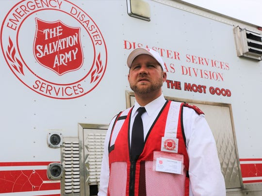 Capt. Patrick Gesner stands near the Salvation Army's emergency services vehicle. The truck is used to provide free food and drinks to areas impacted by natural disasters or other emergencies. It was in use after Hurricane Harvey moved through the area in late August.