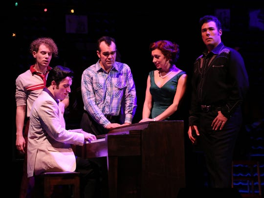 """The audience gave the cast of """"Million Dollar Quartet"""" a 20-minute standing ovation opening night at Riverside Theatre. Nat Zegree as Jerry Lee Lewis (from left); Sam Cieri as Elvis Presley (at the piano); James Barry as Carl Perkins; Sarah Ellis as Dyanne; and Scott Moreau as Johnny Cash."""