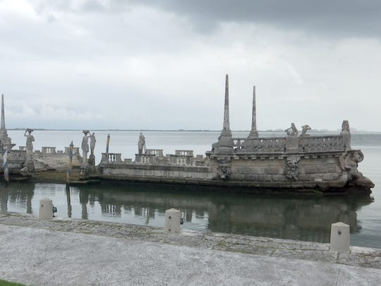 """""""The Barge"""" sits in the water in front of Vizcaya, greeting visitors arriving from Biscayne Bay. It originally was adorned with shrubbery and fountains."""