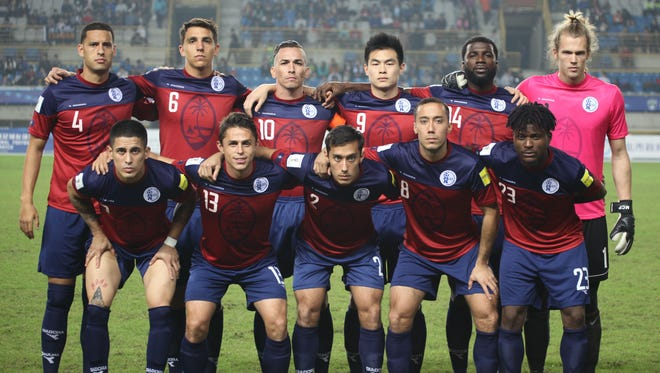 Guam's starting 11 players pose for a photo before a FIFA international friendly match against Chinese Taipei at the Taipei Municipal Stadium in Taipei. The hosts rallied to edge Guam 3-2 in the contest. In the front row from left to right are Jonahan Romero, Ryan Guy, Alexander Lee, Justin Lee, and Shane Malcolm. In the back row from left to right are Travis Nicklaw, Mason Grimes, captain Jason Cunliffe, Eddie Na, Brandon McDonald, and goalkeeper Douglas Herrick.