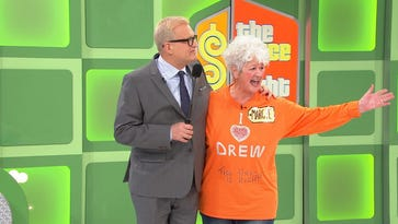 "Host Drew Carey and Knoxville resident Margie Gore on ""The Price Is Right."""