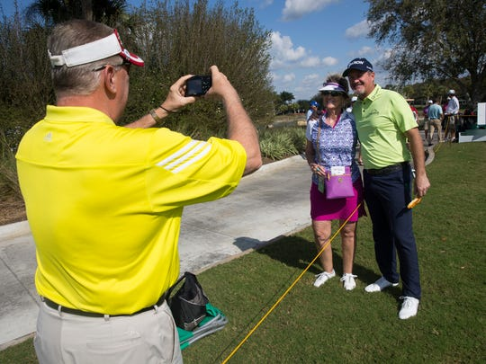 PGA Tour Pro Jerry Kelly takes a moment to pose with fans during the Chubb Classic Pro-Am at TwinEagles Club Wednesday, Feb. 15, 2017 in Naples.