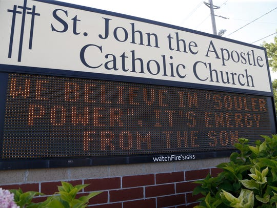 A message celebrating the church's solar power usage