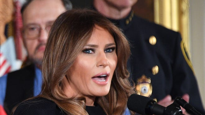First lady Melania Trump spoke on fighting the opioid crisis at the White House on Oct. 26, 2017.