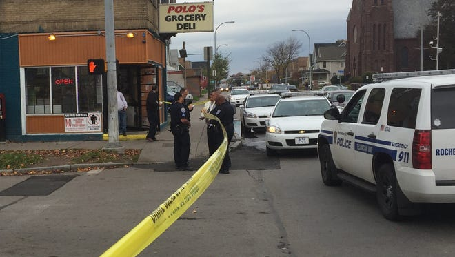 A 24-year-old Rochester man suffered a graze wound in a shooting just before noon on Thursday.