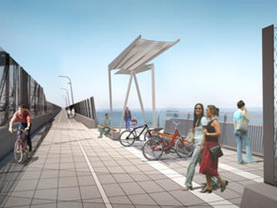 Rendering of shared bike and pedestrian path on the