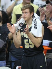Purdue guard Spike Albrecht on the bench during the