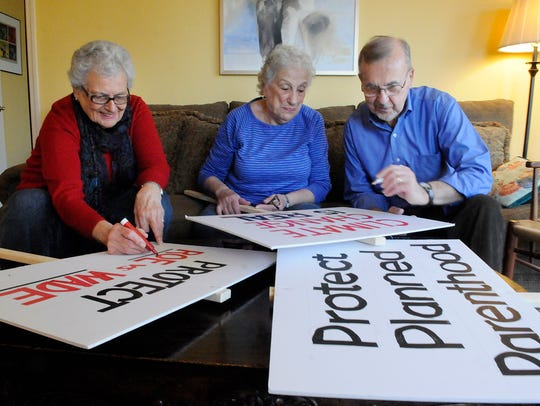 Pequannock seniors worked on protest signs on Thursday