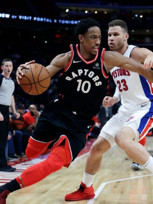 DeMar DeRozan scored 42 points in the Raptors' 121-119 overtime win over the Pistons on Wednesday.