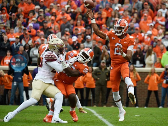 Clemson quarterback Kelly Bryant (2) throws a pass against Florida State during the first half of an NCAA college football game, Saturday, Nov. 11, 2017, in Clemson, S.C. (AP Photo/Rainier Ehrhardt)