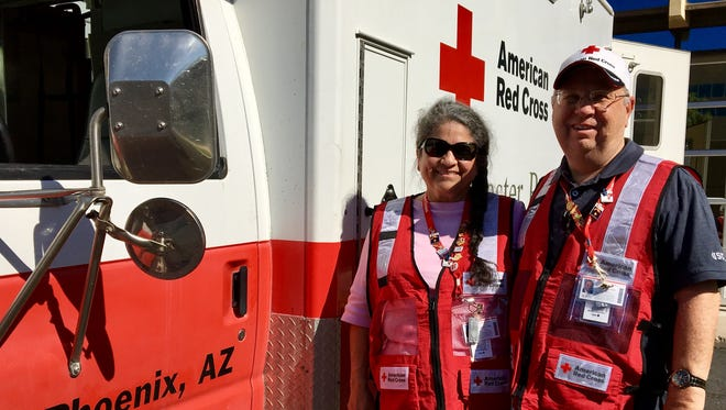 Connie and David Icenhower spent Saturday morning packing their bags and inspecting a truck bound for Houston to assist in emergency efforts after Hurricane Harvey.