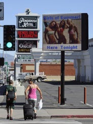 The Wild Orchid sign is seen near downtown Reno.
