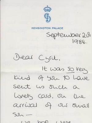 This undated photo issued on Thursday Jan. 5, 2017 by Cheffins Fine Art shows a letter written by Princess Diana from the estate of the late Cyril Dickman, former Palace Steward at Buckingham Palace, which will be auctioned at Cheffins Connoisseur's Sale on 5th January in Cambridge. Six handwritten notes sent to Cyril Dickman in the 1980s and 1990s are going on auction.