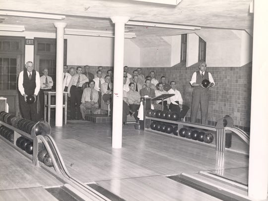 Alleys at the American Club, considered the Big Leagues. The wood from the lanes provided the table tops at the Horse and Plow restaurant.