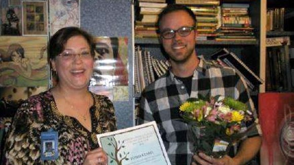Todd Stahl with Oak Tree Award Coordinator Wendy Sardella.
