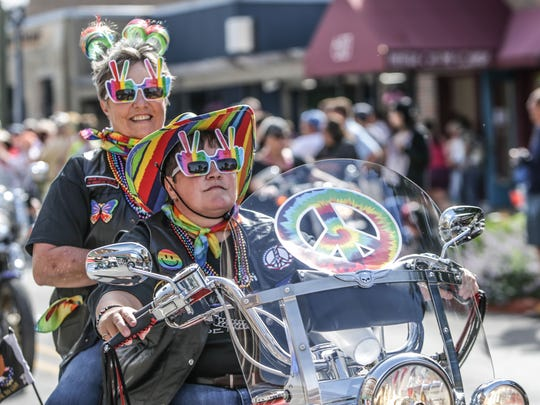 Bikers ride during the Cadillac Barbie IN Pride Parade in 2014.