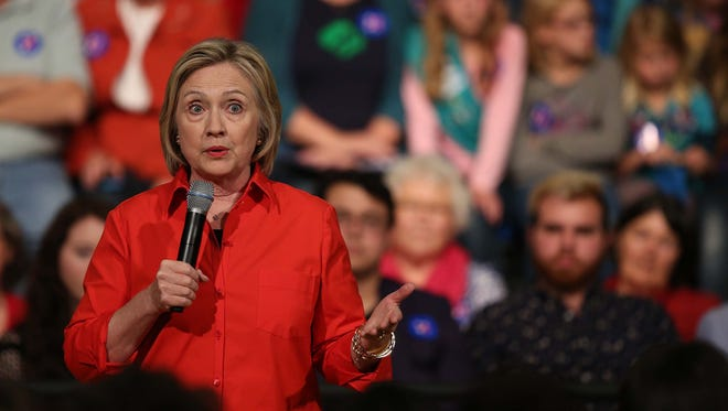 Presidential hopeful, Hillary Clinton speaks to students and community members at Grinnell College on Tuesday, Nov. 3, 2015, in Grinnell. After giving remarks Clinton took questions form the audience.