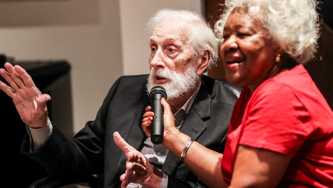 July 25, 2018 - Stax founder Jim Stewart speaks while being interviewed by Deanie Parker during a ceremony where Stewart donated his fiddle to the Stax Museum of American Soul Music.
