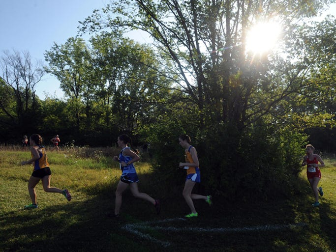 Runners compete in the Richmond Invitational on the IU East cross country course Saturday, Aug. 22, 2014.