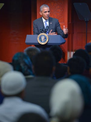 President Obama speaks at the Islamic Society of Baltimore in Windsor Mill, Md., on Feb. 3, 2016.