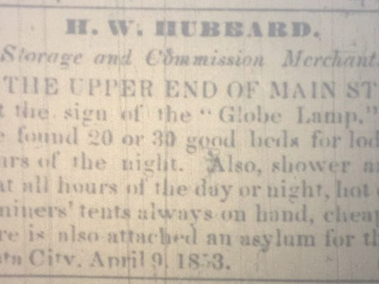 This advertisement from H.W. Hubbard appeared in the April 16, 1853 edition of the Shasta Courier newspaper. Courtesy of Shasta Historical Society.
