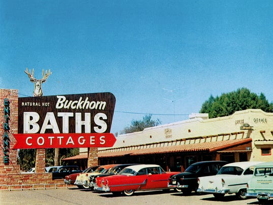 Buckhorn Baths sign