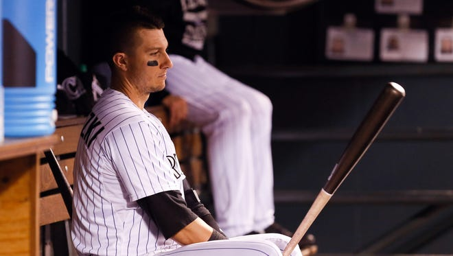 Troy Tulowitzki in the dugout in the fourth inning against the Los Angeles Angels at Coors Field.