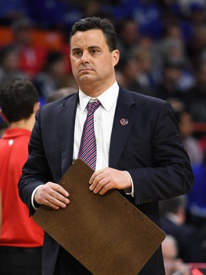 Arizona Wildcats head coach Sean Miller reacts in the second half against the Buffalo Bulls during the first round of the 2018 NCAA Tournament at Taco Bell Arena.