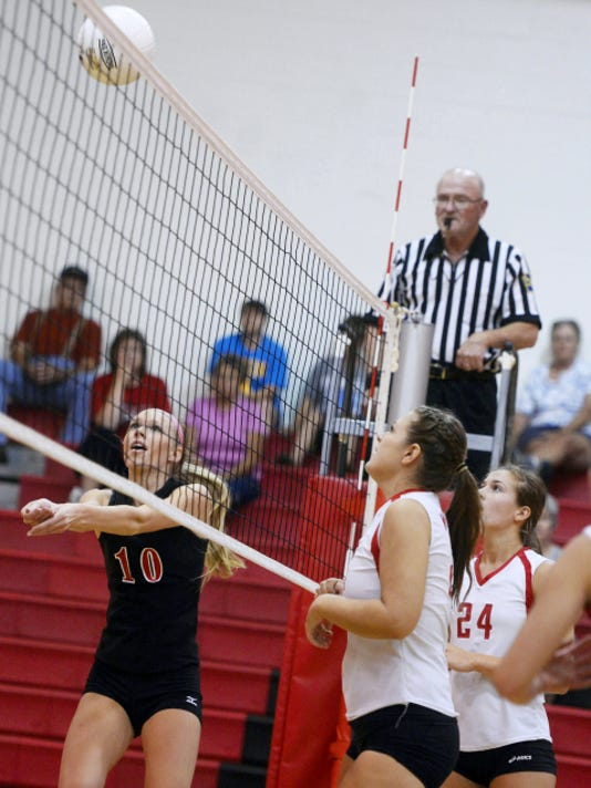 Dover's Rachael Wagner hits against Susquehannock during Wednesday's volleyball match at Susquehannock High School. Wagner finished with five kills and four digs, but the Eagles fell to the Warriors, 25-19, 25-6, 25-16.