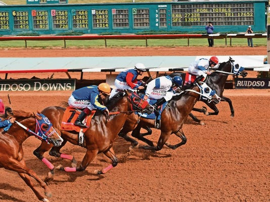 First Valiant Sign is seen here winning the Ruidoso Futurity.