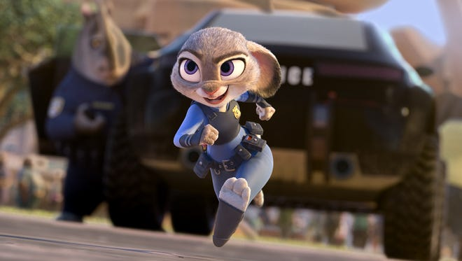 "Judy Hopps, voiced by Ginnifer Goodwin, in a scene from the animated film, ""Zootopia."""