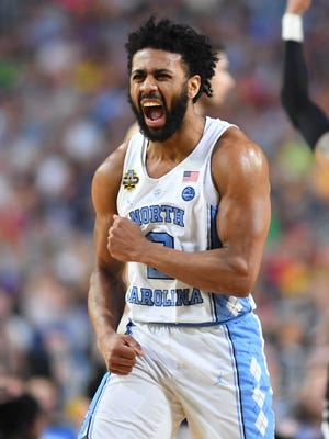 North Carolina Tar Heels guard Joel Berry II (2) reacts against the Gonzaga Bulldogs in the second half in the championship game of the 2017 NCAA Men's Final Four at University of Phoenix Stadium.