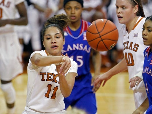 Texas guard Brooke McCarty (11) passes the ball on a drive during the second half of an NCAA college basketball game against Kansas, Wednesday, Jan. 27, 2016, in Austin, Texas.  Texas won 70-46. (AP Photo/Michael Thomas)