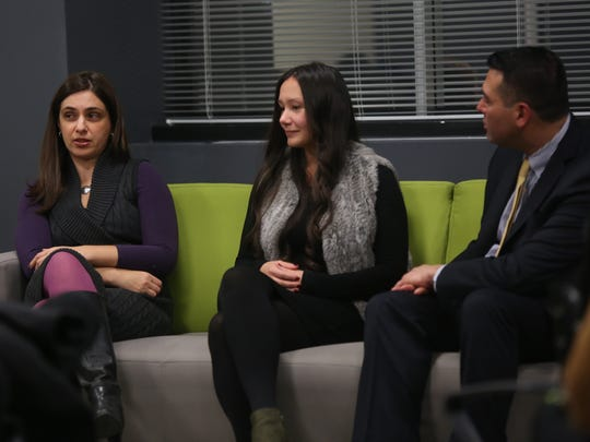 From left, panelists Melissa B. Haber, Cleopatra Mack Scheublin, and Michael J. Zarrilli during The Spiel, an after-hours mixer focused on career change. The program was held at The Journal News Media Group in White Plains on Nov. 15.