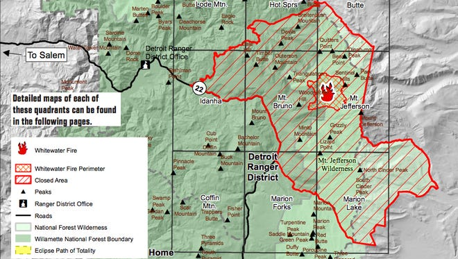 Map of closure in Mount Jefferson area.