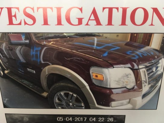 Vandalism on an SUV. Police are seeking information