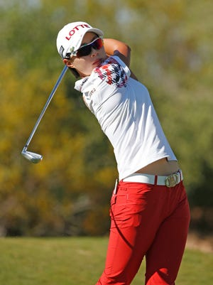 March 21, 2015; Phoenix; Hyo Joo Kim hits during the third round of the JTBC Founders Cup at the Wildfire Golf Club.