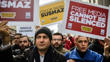 Journalists protest on Jan. 10, 2016, in Istanbul.