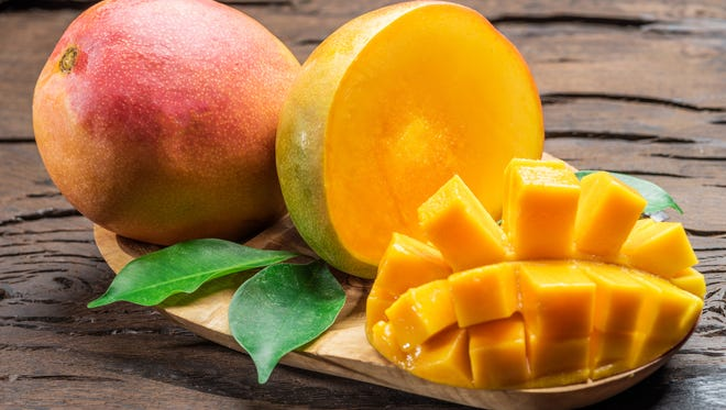 Mangoes are high in fiber and good for you.