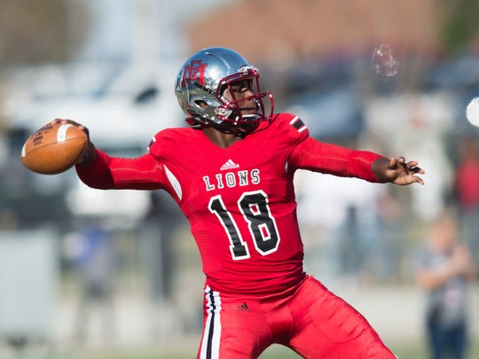EMCC QB Lindsey Scott JR. drops back to pass during Saturday's MACJC State Championship on Saturday Novemeber 11, 2017 on the Campus of Northwest Community College in Senatobia,MS.